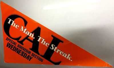 Cal Ripken 1995 Washington Post The Man The Streak Special Souvenir Section newspaper sign