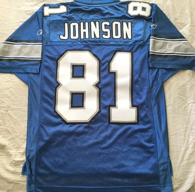 Calvin Johnson Detroit Lions 2007 rookie season authentic Reebok blue stitched jersey