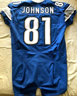 Calvin Johnson 2012 Detroit Lions authentic Nike Elite game model blue triple stitched jersey NEW