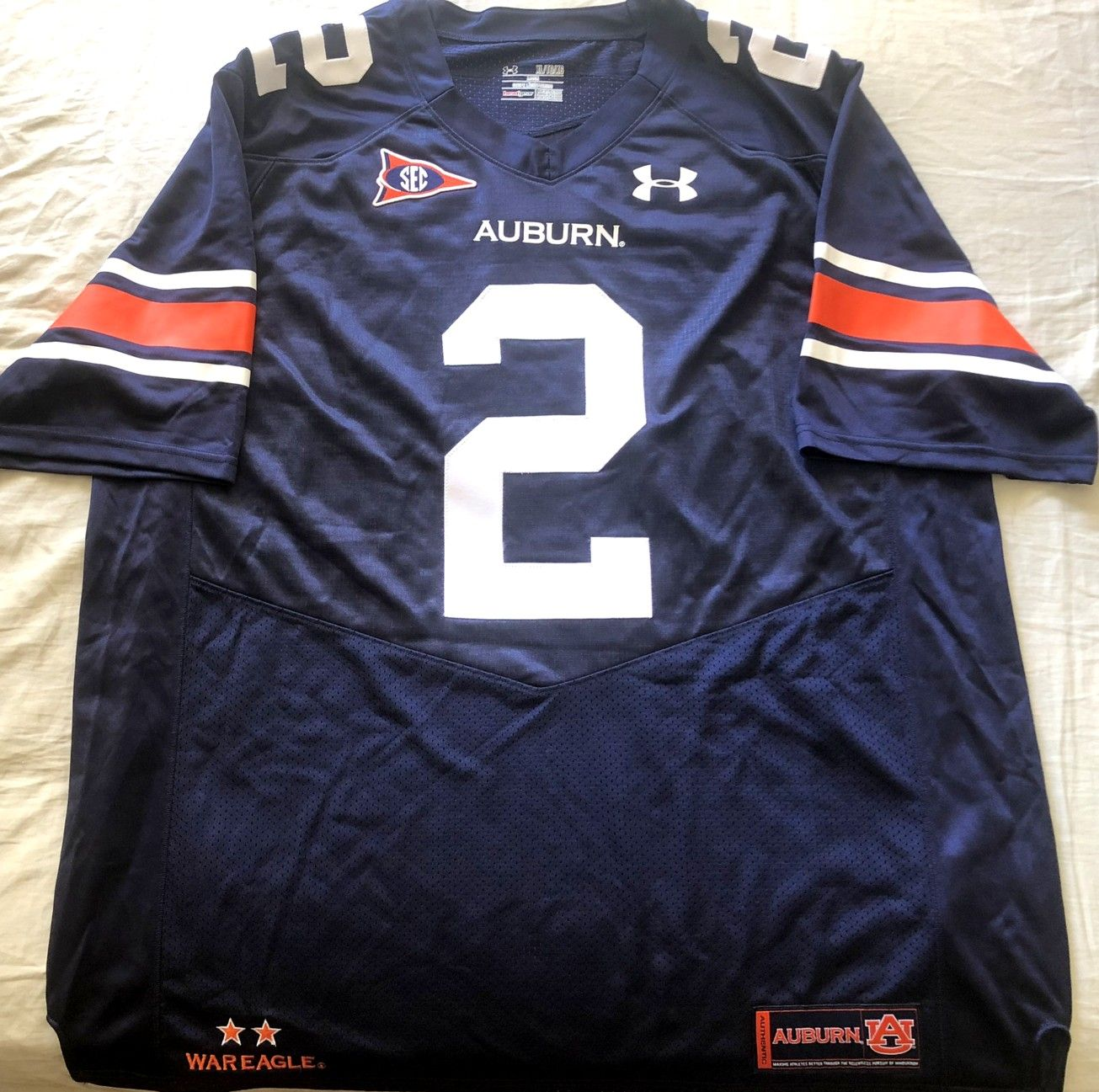Cam Newton 2010 Auburn Tigers authentic Under Armour stitched navy blue jersey NEW