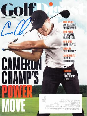 Cameron Champ autographed 2018 Golf Digest magazine cover