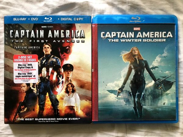 Captain America The First Avenger and Captain America The Winter Soldier Blu-ray DVDs