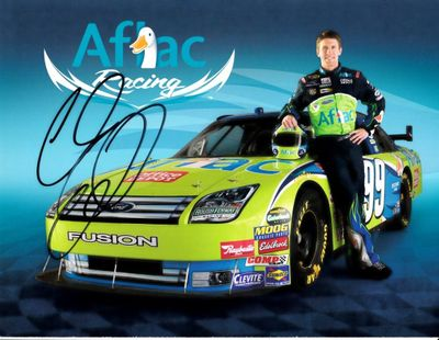 Carl Edwards autographed AFLAC Racing NASCAR photo card