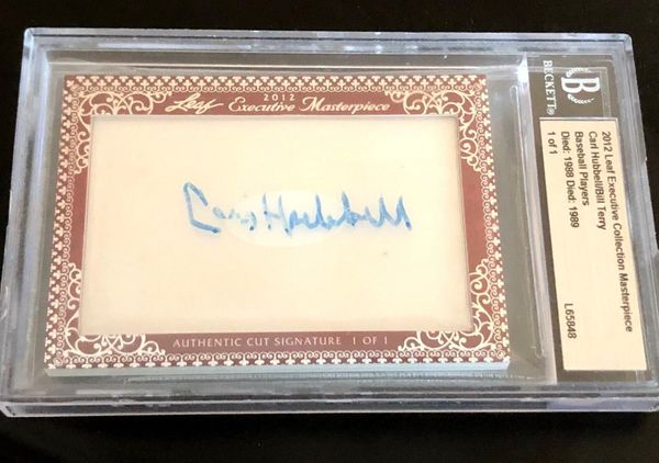 Carl Hubbell and Bill Terry 2012 Leaf Masterpiece Cut Signature certified autograph card 1/1 JSA