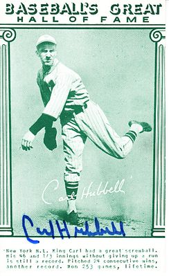 Carl Hubbell autographed Baseball Hall of Fame Exhibit jumbo card