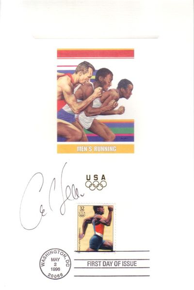 Carl Lewis autographed 1996 U.S. Olympic Team USPS 6x9 proof card with First Day of Issue cancellation