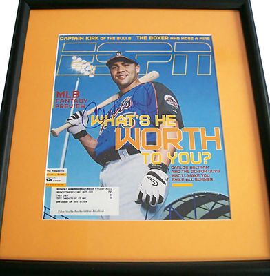 Carlos Beltran autographed New York Mets 2005 ESPN Magazine cover matted and framed