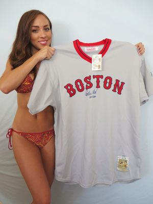 Carlton Fisk autographed 1975 Boston Red Sox Mitchell and Ness jersey inscribed HOF 2000 ltd edit 27 (Steiner)