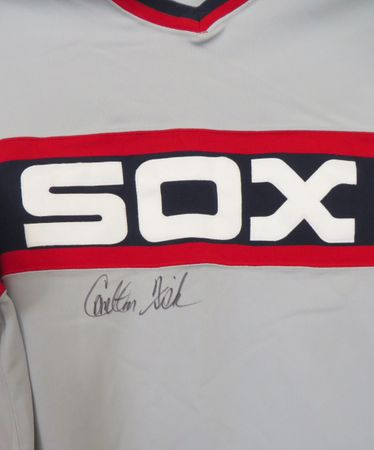 Carlton Fisk autographed 1985 Chicago White Sox authentic Mitchell and Ness throwback jersey