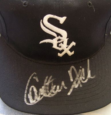 Carlton Fisk autographed Chicago White Sox 1993 final season black replica cap or hat