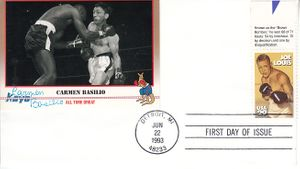 Carmen Basilio autographed Kayo boxing card mounted on 1993 Joe Louis First Day Cover