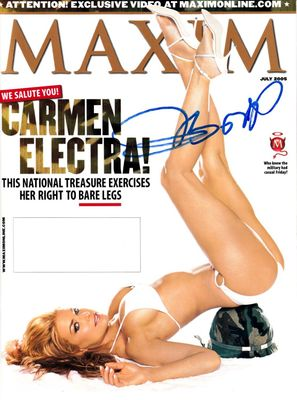 Carmen Electra autographed July 2005 Maxim magazine cover