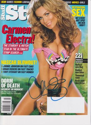 Carmen Electra autographed March 2004 Stuff magazine cleavage cover