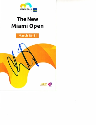 Caroline Wozniacki autographed 2019 Miami Open tennis tournament map and program