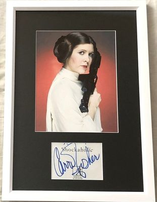 Carrie Fisher autograph matted and framed with Princess Leia Star Wars 8x10 photo