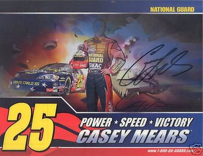 Casey Mears autographed National Guard NASCAR photo card