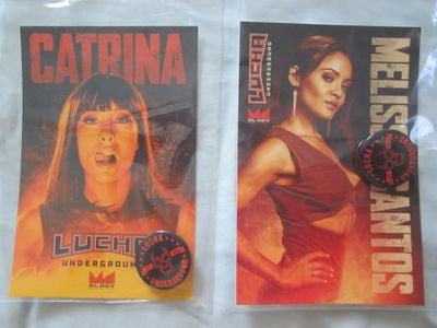 Catrina and Melissa Santos Lucha Underground 2016 Comic-Con photo cards with buttons or pins