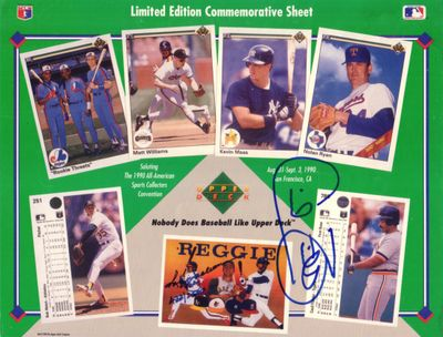 Cecil Fielder autographed Detroit Tigers 1990 Upper Deck card sheet