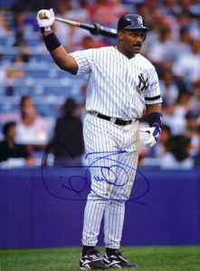 Cecil Fielder autographed New York Yankees Beckett Baseball magazine back cover photo
