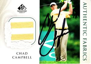 Chad Campbell autographed 2004 SP Signature golf tournament worn shirt card