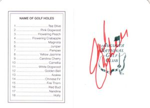 Chad Campbell autographed Augusta National Masters scorecard
