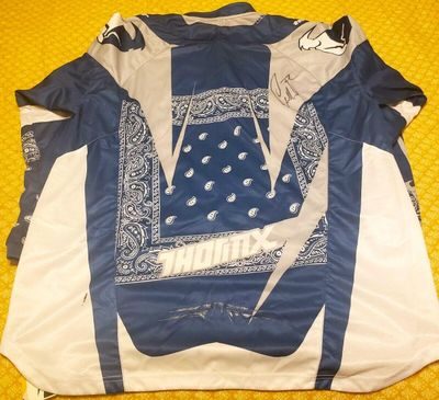 Chad Reed autographed Thor Core blue gray and white motocross or supercross jersey