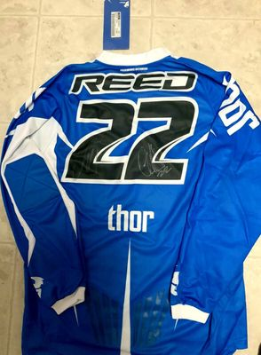 Chad Reed autographed Thor Core blue motocross or supercross jersey