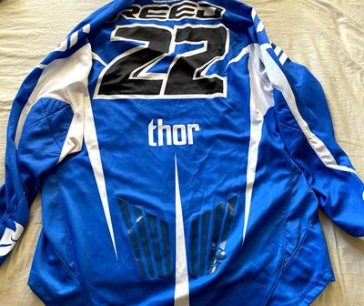 Chad Reed autographed Thor Racing blue motocross or supercross jersey (JSA)