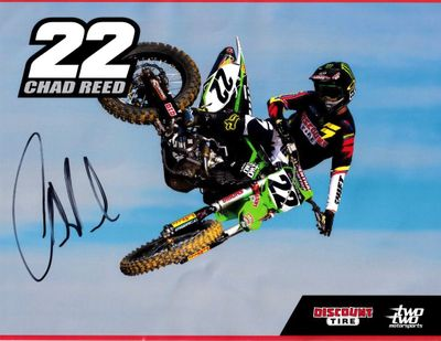 Chad Reed autographed Two Two Motorsports motocross or supercross 8 1/2 by 11 inch photo card (wrinkled)