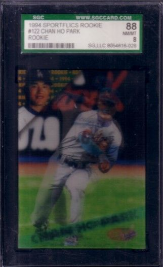 Chan Ho Park 1994 Sportflics Rookie/Traded Rookie Card graded SGC 88