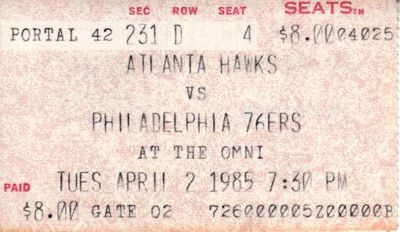 Charles Barkley 1984-85 rookie season ticket stub (Philadelphia 76ers at Atlanta Hawks)