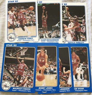 Philadelphia 76ers 1985 Star Supers 5x7 partial team set (Maurice Cheeks Bobby Jones)