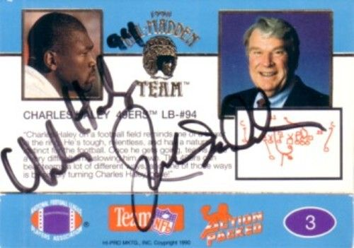 John Madden & Charles Haley autographed 1990 Action Packed All-Madden Team card