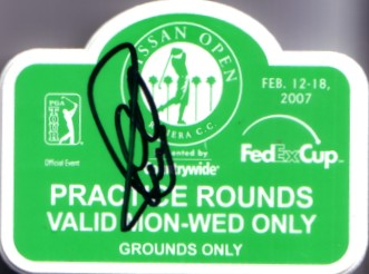 Charles Howell autographed 2007 Nissan Open practice round badge