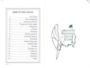 Charles Howell autographed Augusta National Masters scorecard