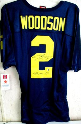 Charles Woodson autographed Michigan Wolverines authentic Wilson stitched jersey inscribed Heisman '97 (GTSM)