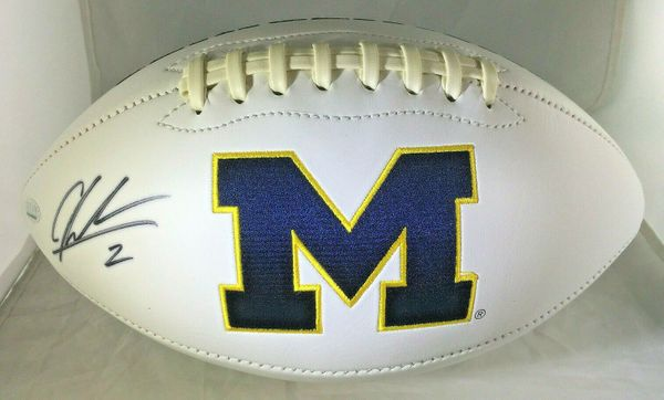 Charles Woodson autographed Michigan Wolverines logo white panel football (GTSM)