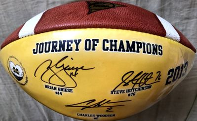 Charles Woodson Brian Griese Steve Hutchinson autographed Michigan Wolverines 1997 National Champions commemorative football