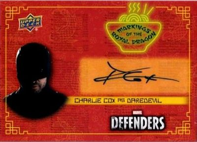 Charlie Cox certified autograph Daredevil Marvel Defenders 2018 Upper Deck card RD-CC