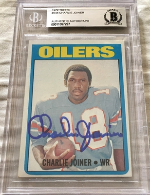 Charlie Joiner autographed 1972 Topps Rookie Card (BAS authenticated and slabbed)