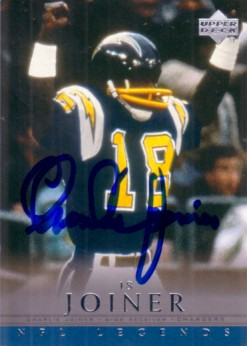 Charlie Joiner autographed San Diego Chargers 2000 Upper Deck Legends card