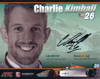 Charlie Kimball autographed Andretti photo card