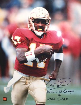 Charlie Ward autographed Florida State 16x20 poster size photo inscribed Heisman 93 Champs (Real Deal Memorabilia)