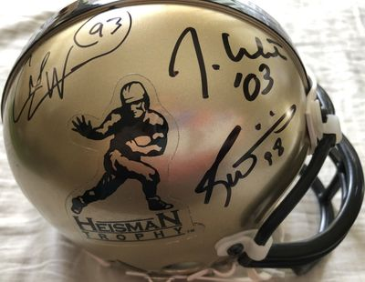 Charlie Ward Jason White Ricky Williams autographed Heisman logo Riddell mini helmet