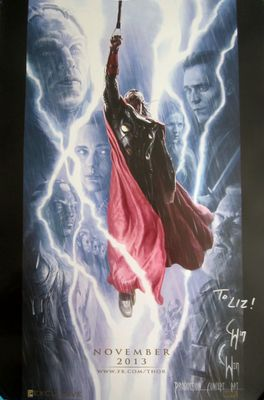 Charlie Wen autographed Thor 2013 Comic-Con exclusive movie poster (To Liz)