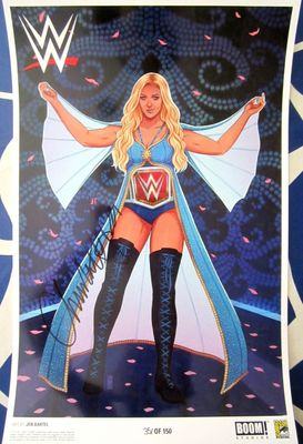 Charlotte Flair autographed WWE 2017 Comic-Con exclusive 11x17 poster #/150