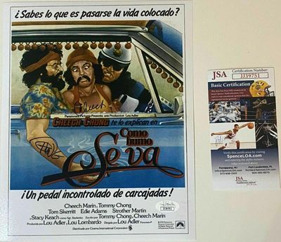 Cheech Marin and Tommy Chong autographed Up In Smoke 8x10 Spanish movie poster print or photo (JSA)
