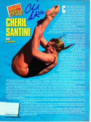 Cheril Santini (SMU) autographed full page diving magazine photo