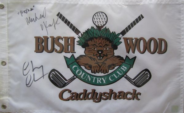 Chevy Chase and Michael O'Keefe autographed Caddyshack Bushwood Country Club golf pin flag (SSG)