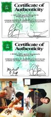 Chevy Chase & Michael O'Keefe autographed Caddyshack Bushwood Country Club golf pin flag (SSG)